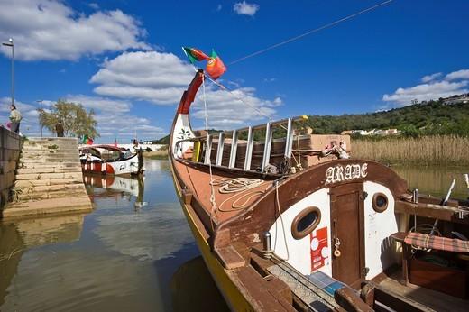 Historic fishing boats as tourist boats on the Rio Arade river, Silves, Algarve, Portugal, Europe : Stock Photo