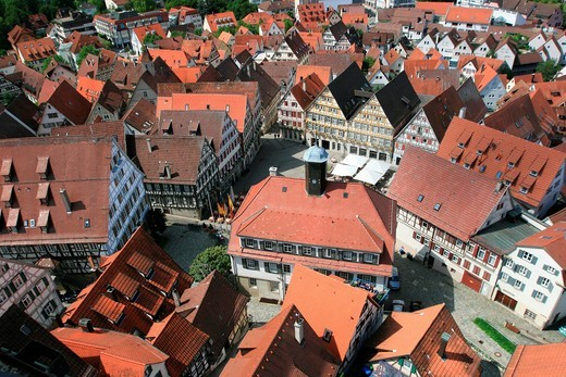 View from the tower of the Stiftskirche church on the marketplace, Herrenberg, Boeblingen county, Baden_Wuerttemberg, Germany, Europe : Stock Photo