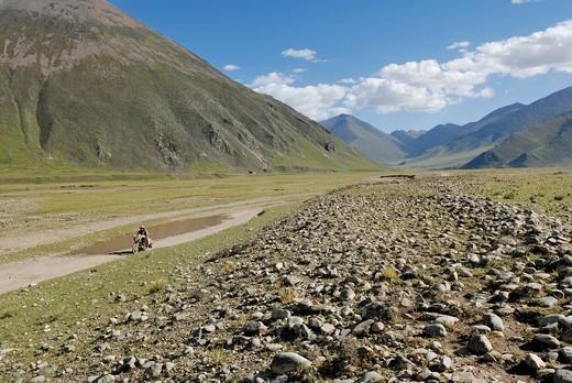 Mountain landscape, Phodo Dzong near the Reting Monastery, Tibet region, China, Asia : Stock Photo