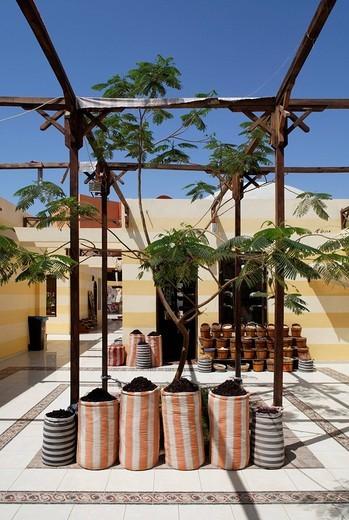 Spices in sacks, pergola, traditional market, Souk, marina, Hurghada, Egypt, Red Sea, Africa : Stock Photo