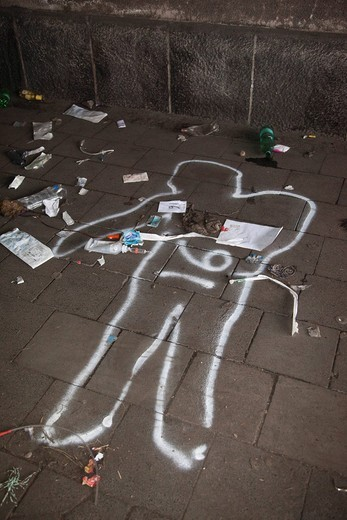 Love Parade 2010, spray chalk outline of a person killed in a stampede, Duisburg, Ruhr Area, North Rhine_Westphalia, Germany, Europe : Stock Photo