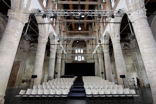 Onze Lieve Vrouwekerk or Grote Kerk church, late_Gothic nave with seating, culture church, Veere, Walcheren, Zeeland, Netherlands, Benelux, Europe : Stock Photo