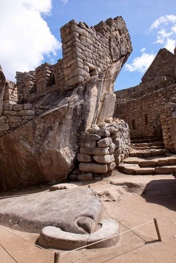 Condor stone carving, Machu Picchu site, Peru, South America : Stock Photo