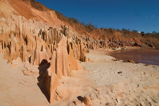 Red Tsingys, rock formations, Madagascar, Africa : Stock Photo