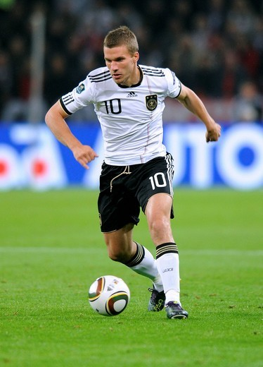 Lukas Podolski, qualifier for the UEFA European Football Championship 2012, Germany _ Azerbaijan 6:1, RheinEnergieStadion stadium, Cologne, North Rhine_Westphalia, Germany, Europe : Stock Photo
