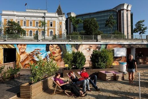 Stock Photo: 1848-55208 Herrmann beach bar on the Danube Canal, Herrmann Park, Vienna, Austria, Europe