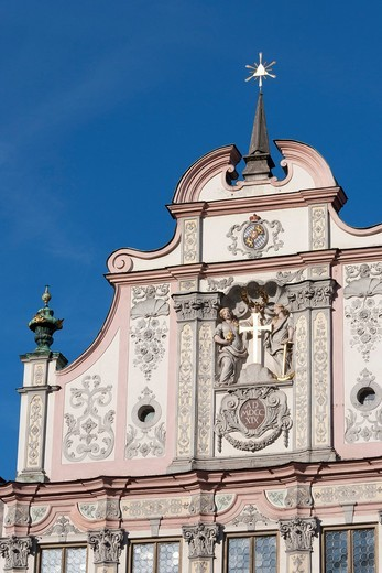 Town hall with stucco facade from 1719, Landsberg am Lech, Bavaria, Germany, Europe : Stock Photo