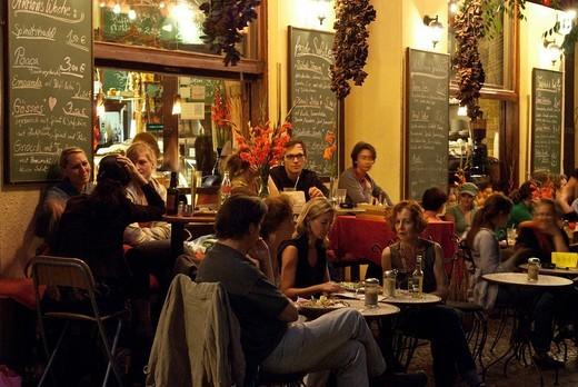 Restaurant Knofi, street cafe, evening street scene, Bergmannstrasse, Berlin Kreuzberg, Berlin, Germany, Europe : Stock Photo