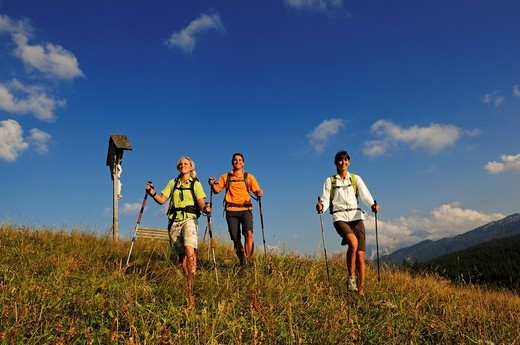Hikers on the Winklmoos Alm alpine pasture, Reit im Winkl, Chiemgau, Upper Bavaria, Bavaria, Germany, Europe : Stock Photo