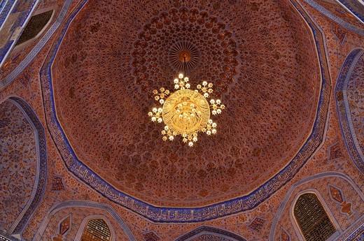 Stock Photo: 1848-552562 Interior cupola of Gur Emir, Gur_Amir, Guri Amir mausoleum, tomb of Timur, Temur, Tamerlane, Samarkand, Silk Road, Uzbekistan, Central Asia