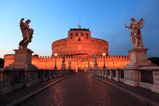Stock Photo: 1848-552698 Ponte Sant´Angelo bridge, Rome, Italy, Europe