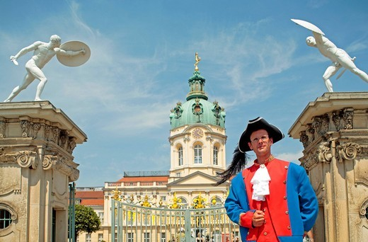 Stock Photo: 1848-552848 Historically dressed guard in front of Schloss Charlottenburg Palace, Berlin, Germany, Europe