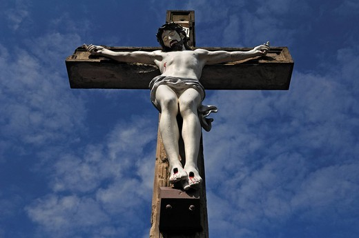 Stock Photo: 1848-552954 Large crucifix at the cemetery, Kaysersberg, Alsace, France, Europe
