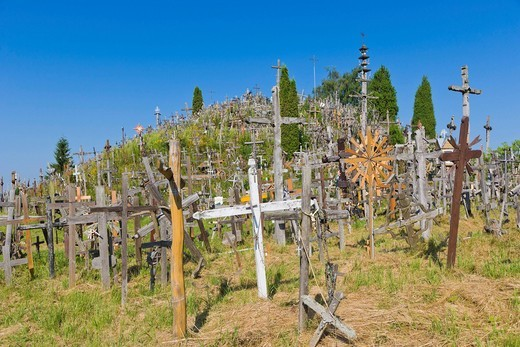 Kriziu kalnas, The Hill of Crosses, a site of pilgrimage, 12 km north of the city of Siauliai, Lithuania, Northern Europe : Stock Photo
