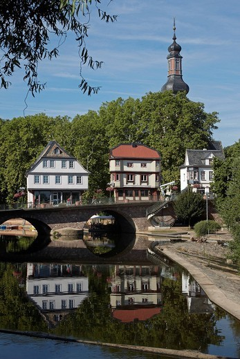 Stock Photo: 1848-553029 Bridge houses from the 15th century on the ´Alte Nahebruecke´ Bridge, landmark of the town Bad Kreuznach, Rhineland_Palatinate, Germany, Europe