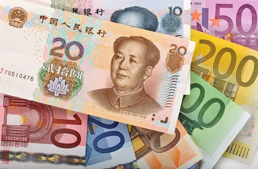 Stock Photo: 1848-553293 Fan of various euro banknotes and Chinese yuan banknotes, renminbi, the currency of the People´s Republic of China, known in the West as yuan, colloquially Kuai, symbolic image for exchange rates