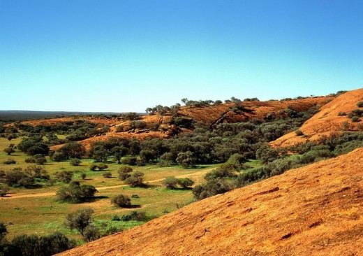 Stock Photo: 1848-553357 View across the Murchison region from Walga Rock, Murchison, Western Australia, Australia