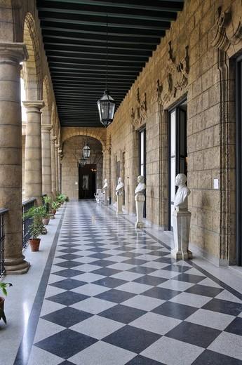 Arcades at the Palacio de los Capitanes Generales Palace, Plaza de Armas square, Havana, historic district, Cuba, Caribbean, Central America : Stock Photo