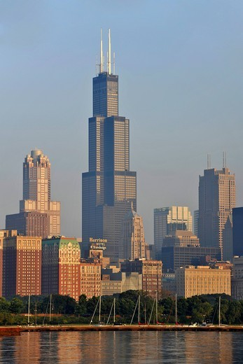 Willis Tower, formerly named Sears Tower and renamed in 2009, Lake Michigan, Chicago, Illinois, United States of America, USA : Stock Photo