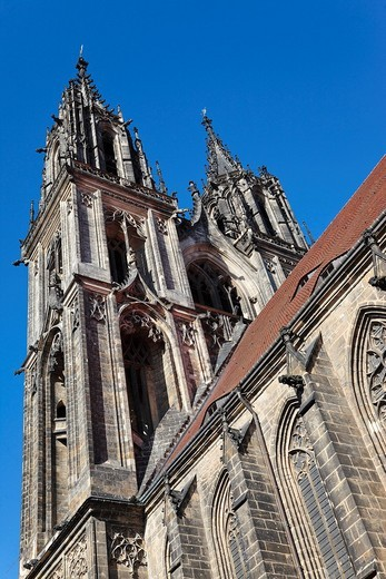 View of the towers of the Dom cathedral in the Albrechtsburg castle in Meissen, Saxony, Germany, Europe : Stock Photo