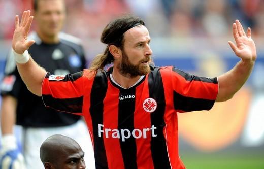 Soccer Bundesliga, Season 2010_2011, 2nd Round, Eintracht Frankfurt _ Hamburger SV 1:3, Ioannis Amanatidis from Eintracht Frankfurt : Stock Photo