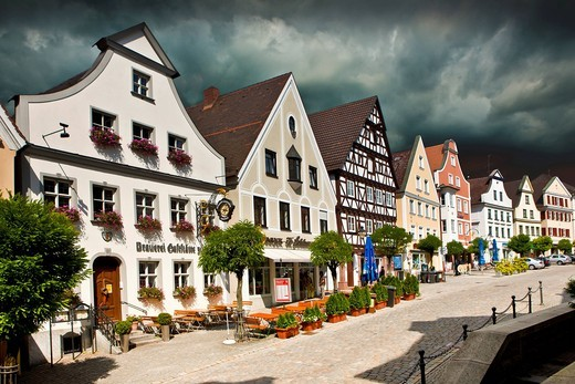 Stock Photo: 1848-553935 Approaching storm over the market place, Guenzburg, Donauried, Swabia, Bavaria, Germany, Europe