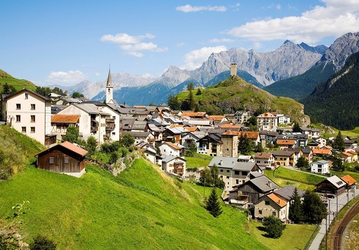 Stock Photo: 1848-553940 Mountain village with a castle, Scuol, Engadin valley, Switzerland, Europe