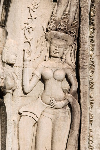 Relief of Apsara dancer, Angkor Wat Temple, Angkor temples, Siem Reap, Cambodia, Indochina, Southeast Asia : Stock Photo