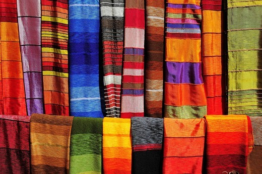 Stock Photo: 1848-554000 Colourful fabrics for sale at a souq market, bazaar, Morocco, Africa
