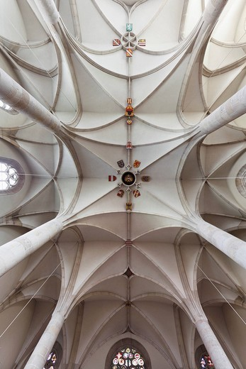Stock Photo: 1848-55402 Vaulted ceiling with coat of arms, St. George´s Cathedral in the Castle, Wiener Neustadt, Lower Austria, Austria, Europe