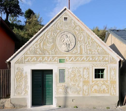 Wine cellar decorated with Sgraffito, Falkenstein, Lower Austria, Austria, Europe : Stock Photo