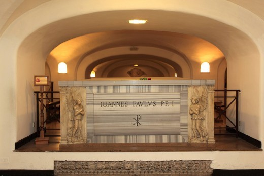 Stock Photo: 1848-554094 Grave of Pope John Paul I, St. Peter´s Basilica, Vatican City, Rome, Italy, Europa