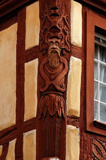 Carving on an old half_timbered house, 19 Impasse du Père Staub, Kaysersberg, Alsace, France, Europe : Stock Photo