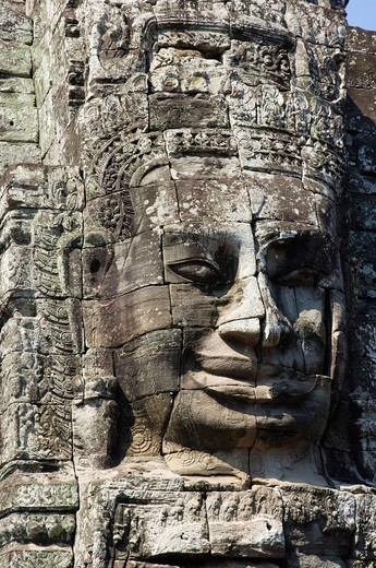Stock Photo: 1848-554335 Stone face of Bodhisattva Lokeshvara, Bayon Temple, Angkor temples, Siem Reap, Cambodia, Indochina, Southeast Asia