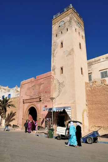 Stock Photo: 1848-554453 Clocktower in the old town of Essaouira, Unesco World Heritage Site, Morocco, North Africa
