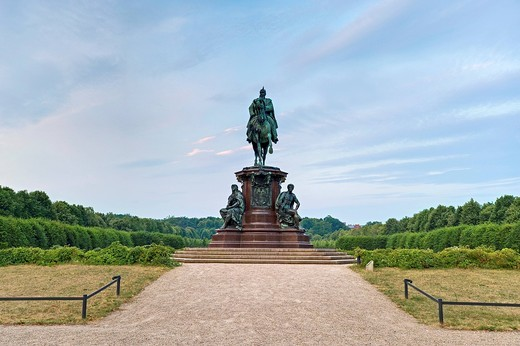 Equestrian statue of Friedrich Franz II, Grand Duke of Mecklenburg, palace gardens, Schwerin, Mecklenburg_Western Pomerania, Germany, Europe : Stock Photo