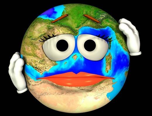 Earth with headache : Stock Photo