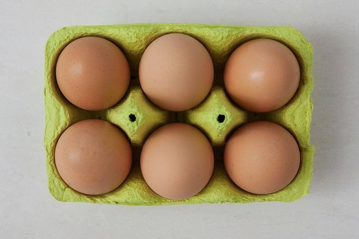 Six brown eggs in an egg carton : Stock Photo