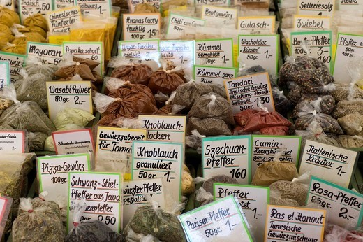 Spice stall on the Viktualienmarkt food market, Munich, Bavaria, Germany, Europe : Stock Photo