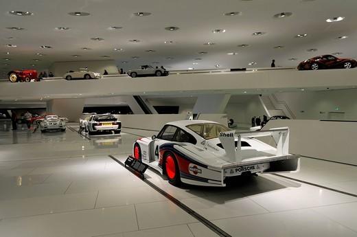 Interior view, various Porsche exhibits, Porsche Museum, Stuttgart, Baden_Wuerttemberg, Germany, Europe : Stock Photo