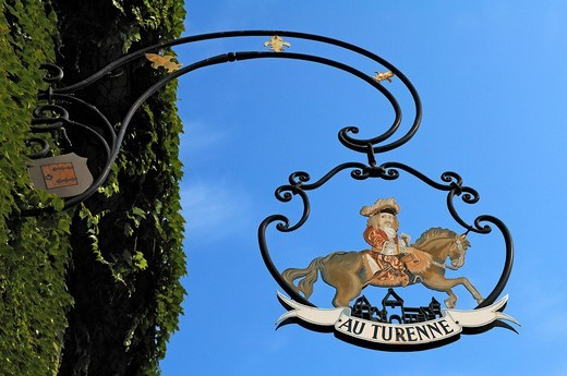 Sign of Au Turenne restaurant, 14 rue Grenouillère, Turckheim, Alsace, France, Europe : Stock Photo