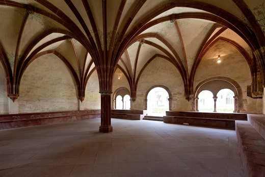 The old Kloster Eberbach Abbey, Eltville am Rhein, Rheingau, Hesse, Germany, Europe : Stock Photo