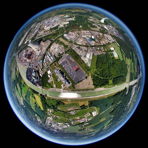 Aerial view, fisheye lens, Innovatherm plant, Trianel coal power plant, Stadthafen harbour, Datteln_Hamm canal, Luenen, Ruhrgebiet area, North Rhine_Westphalia, Germany, Europe : Stock Photo