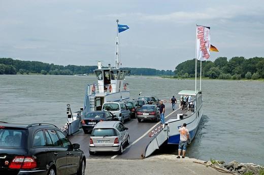 Stock Photo: 1848-55600 Car ferry, Dormagen, Zons, Lower rhine, North Rhine_Westphalia, Germany
