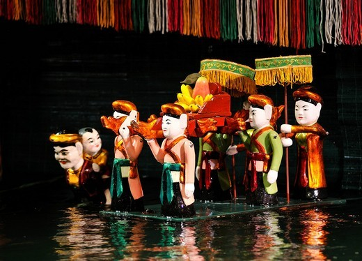 Puppets, Thang Long Water Puppet Theatre, Hanoi, North Vietnam, Vietnam, Southeast Asia : Stock Photo