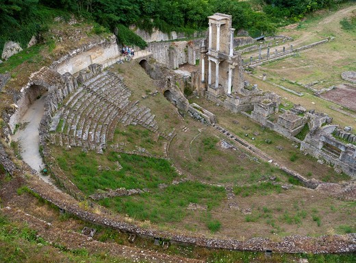 Teatro Romano, an ancient Roman theater, built in the reign of Emperor Augustus in Volterra, Tuscany, Italy, Europe : Stock Photo