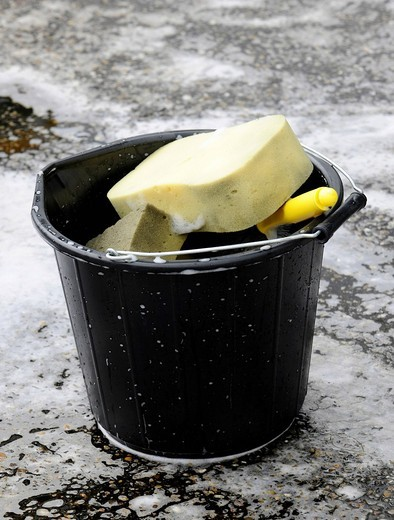 Stock Photo: 1848-556408 Cleaning bucket with a sponge and water