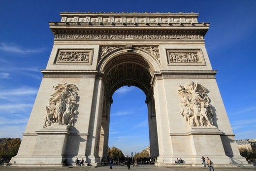 Arc de Triomphe, Triumphal Arch, Place Charles de Gaulle Etoile, Paris, France, Europe : Stock Photo