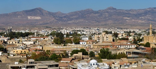 View over North Nicosia, also Lefkosa or Lefkosia, the capital of Northern Cyprus, Turkish Cyprus, South Eastern Europe, Europe : Stock Photo