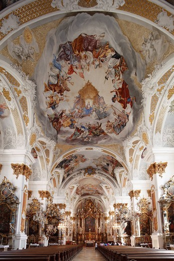 Studienkirche Mariae Himmelfahrt study church, Dillingen an der Donau, Donauried region, Swabia, Bavaria, Germany, Europe : Stock Photo
